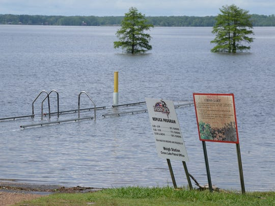 The dock of the public boat launch at Cross Lake as
