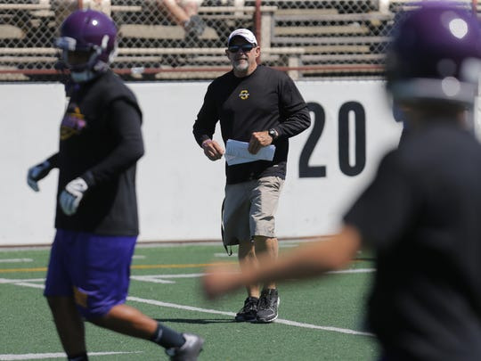 Salinas High School football team head coach Steve Goodbody watches practices Friday at The Pit on campus.