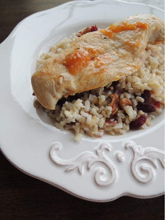 Apricot chicken with cranberry rice