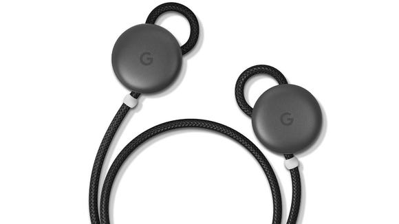 A cord connects the left Pixel Buds to the right.