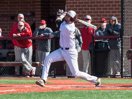 Salisbury University's Simon Palenchar (30) at bat during a game against Cortland on Saturday, Feb. 17, 2018.