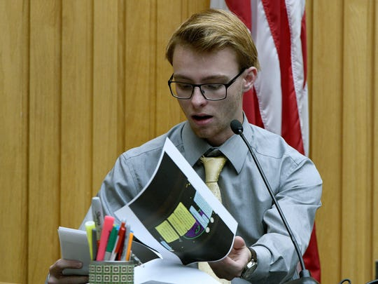 Friend Alex McCarty confirms texts are between him and  William Riley Gaul while testifying Thursday, May 3, 2018. Gaul, a former Maryville College football player, is charged in the 2016 shooting death of his 16-year-old ex-girlfriend Emma Jane Walker.