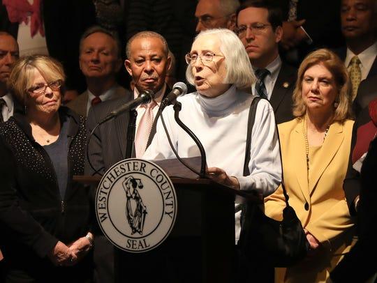 North White Plains resident Kathleen MacNaughte talks