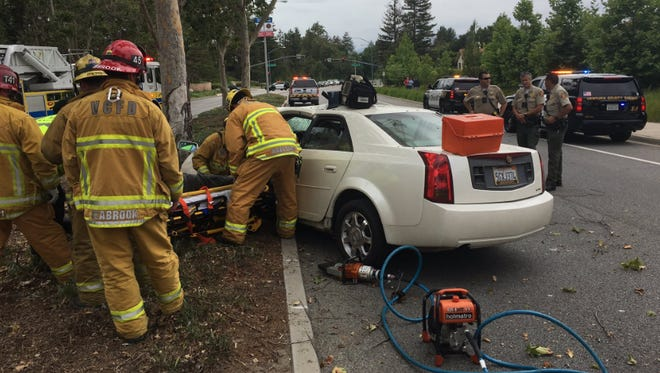 One person was taken to a hospital after a vehicle hit a tree Saturday in Moorpark, officials said.