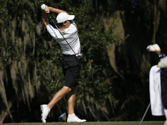 Niceville's Patrick Poate tees off during the District 1-3A golf tournament at the Capital City Country Club on Tuesday.