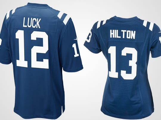 Colts jerseys, quarterback Andrew Luck and wide receiver T.Y. Hilton