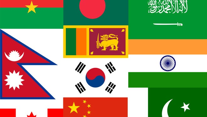 This composite image shows flags of the 10 countries sending the most students to St. Cloud State University in fall 2015. Top row, from left: Burkina Faso, Bangladesh, Saudi Arabia. Middle row, from left: Nepal, Sri Lanka, India. Middle: Republic of Korea. Bottom, from left: Canada, China, Pakistan.