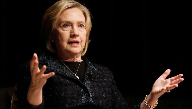 Hillary Rodham Clinton speaks at a Winnipeg Chamber of Commerce luncheon in Winnipeg, Manitoba, on Jan. 21, 2015.