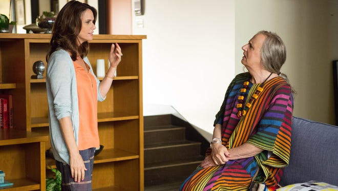 "In this image released by Amazon Digital, Amy Landecker, left, and Jeffrey Tambor appear in a scene from ""Transparent,"" a series on Amazon Digital."