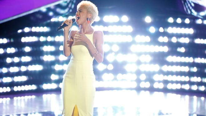 "Claymont-based singer Nadjah Nicole performs on ""The Voice"" Monday night."