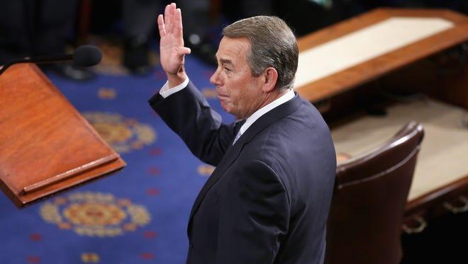 Outgoing speaker John Boehner waves on Oct. 29, 2015.