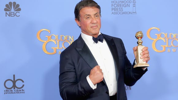 Stallone backstage with his imaginary friend Rocky