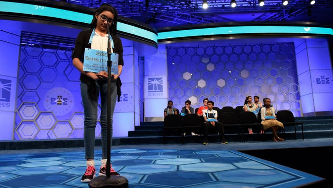 Shruthika Padhy, 10, of Cherry Hill, N.J., incorrectly spells 'tyee' in the finals.