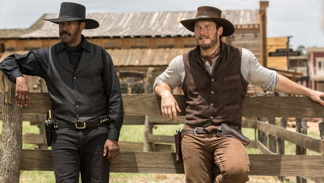 """Chris Pratt, right, and Denzel Washington star in """"The Magnificent Seven.""""  The movie opens Thursday at Regal West Manchester Stadium 13, Frank Theatres Queensgate Stadium 13 and R/C Hanover Movies."""