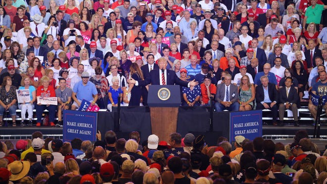 President Donald Trump speaks during a rally in Phoenix on Aug. 22, 2017, in Phoenix.