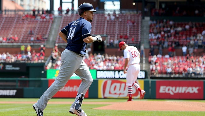 The Brewers' Hernan Perez rounds the bases after a solo homer, his first of the season, Wednesday afternoon against Cardinals pitcher Adam Wainwright.