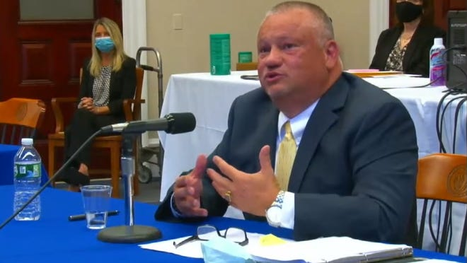 Attorney Robert Harnais, a nominee to the District Court circuit, answered questions from Governor's Council members at a public interview Wednesday, Oct. 14.