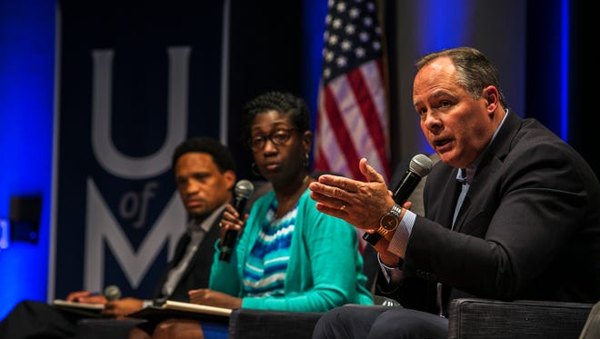 October 18, 2017 - M. David Rudd, president of the University of Memphis, answers a question from a student during a two-hour public forum on sexual assault in the University Center Theatre on Wednesday. The school held the event to give students, faculty and staff a chance to openly discuss sexual assaults after recent alleged off-campus rapes.
