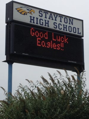Stayton High School's electronic sign.