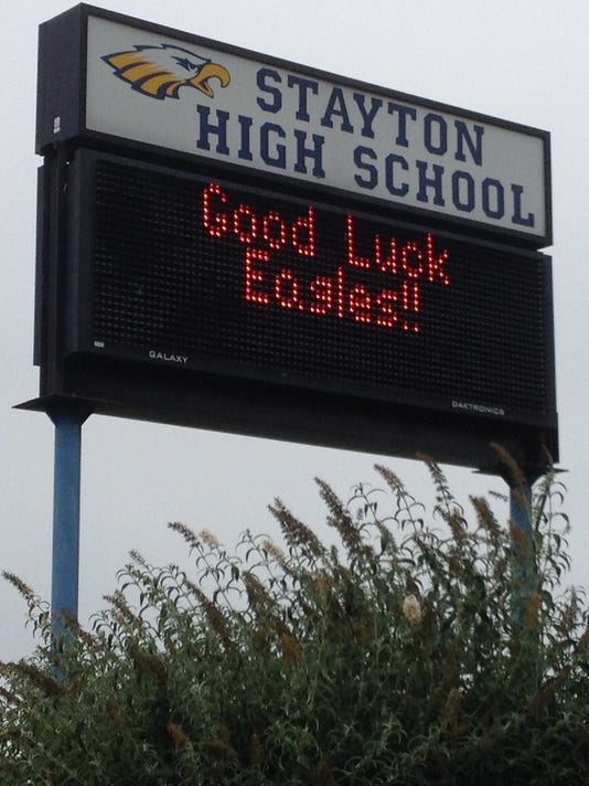 Stayton High School sign