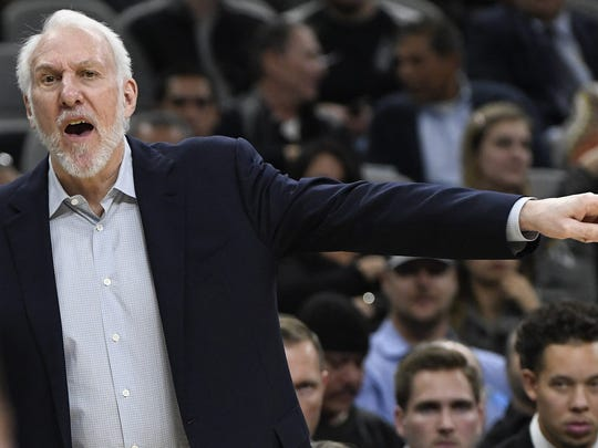 Nov 7, 2019; San Antonio, TX; San Antonio Spurs coach Gregg Popovich argues a call in the first half against the Oklahoma City Thunde. Photo Credit: Scott Wachter - USA TODAY Sports