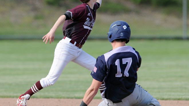 Sean Gould, who made the Monomoy varsity team as a freshman, breaks up a double play against West Bridgewater in June 2018.