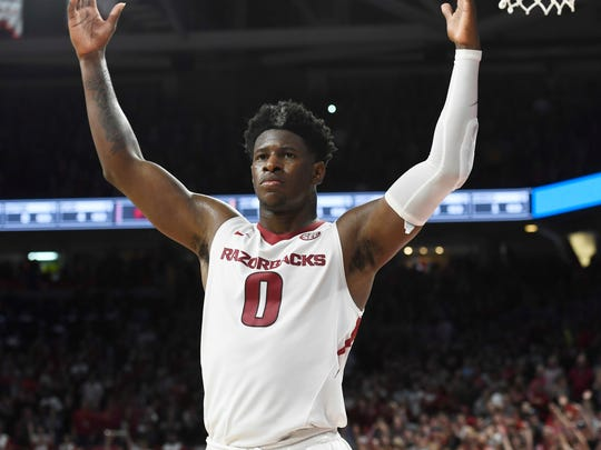 Arkansas guard Jaylen Barford celebrates after scoring against Tennessee during the second half of an NCAA college basketball game Saturday, Dec. 30, 2017 in Fayetteville, Ark. (AP Photo/Michael Woods)