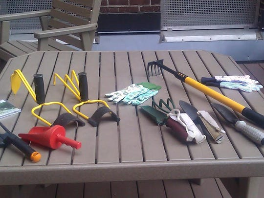 A sample of some of the many adaptive hand tools with wide handles and varied gripping aids allow gardening success for children to seniors.