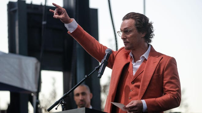 Matthew McConaughey gives a short speech during the Moody Center groundbreaking in December at the University of Texas. He'll be part of the 2020 Texas Book Festival; his talk with actor Ethan Hawke is one of two ticketed events this year.