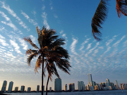 The skyline of Miami, Florida is shown i