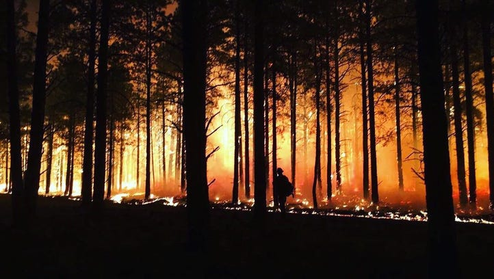 A view of the Boundary Fire take at night on Sunday,