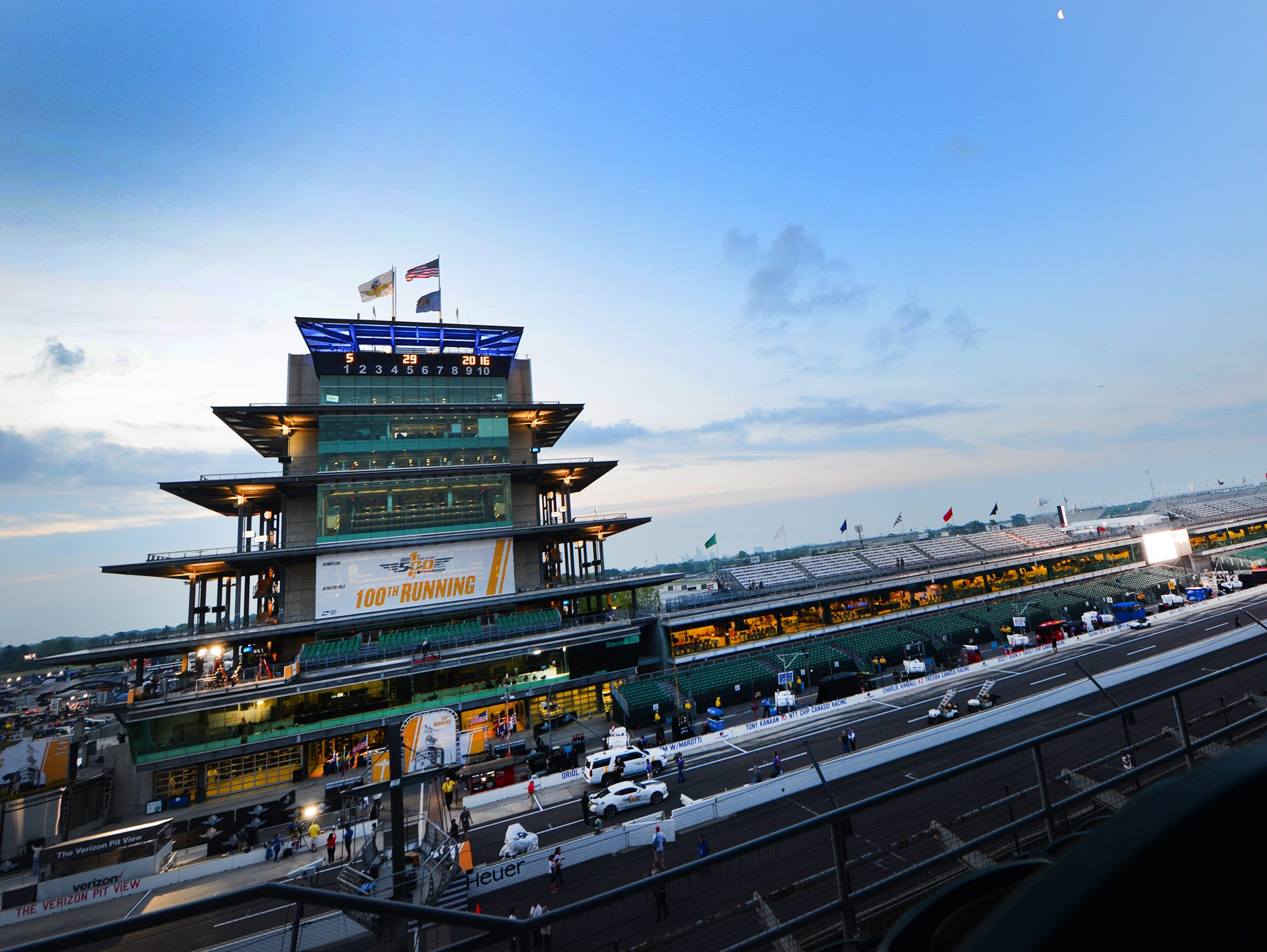 The sun rises over the Pagoda hours before the 100th running of the Indianapolis 500 last May.