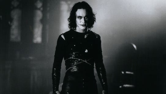 """Brandon Lee as Eric Draven from a scene in """"The Crow."""""""