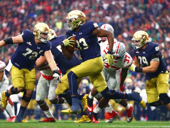 notre dame current score biggest college football player