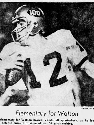 Vanderbilt quarterback Watson Brown runs the ball during a 14-10 upset of Alabama in 1969. This clip appeared in the Oct. 12, 1969 edition of The Tennessean.