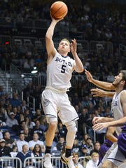 Butler's Paul Jorgensen shoots during a win over Furman.