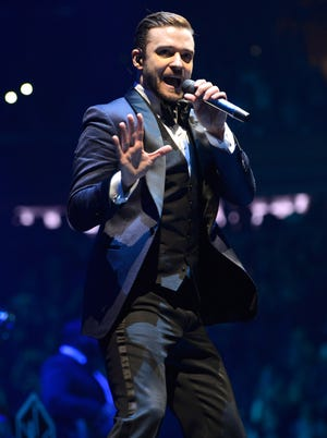 Justin Timberlake performs during the '20/20 Experience' tour at Madison Square Garden on Feb. 20, 2014 in New York City.