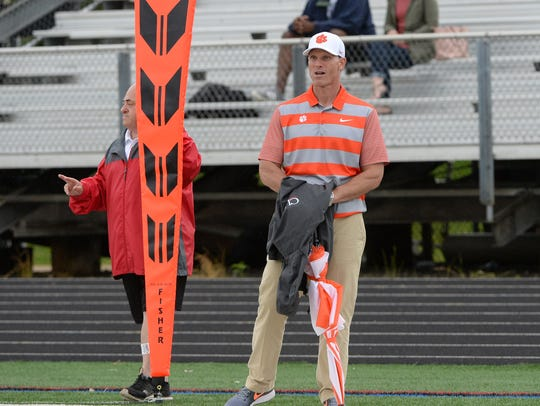 Clemson defensive coordinator Brent Venables watches