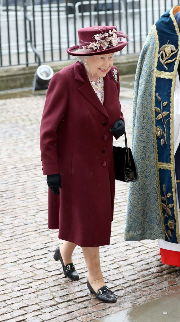 Queen Elizabeth II arrives for the Commonwealth Day