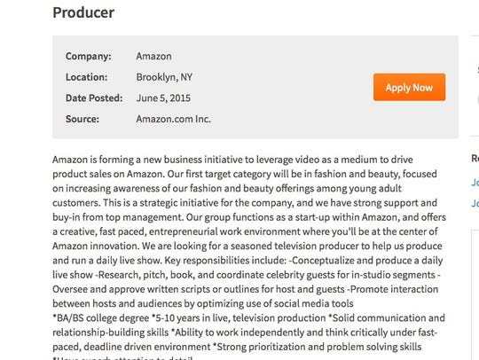 A screen shot of an Amazon job listing for a live video