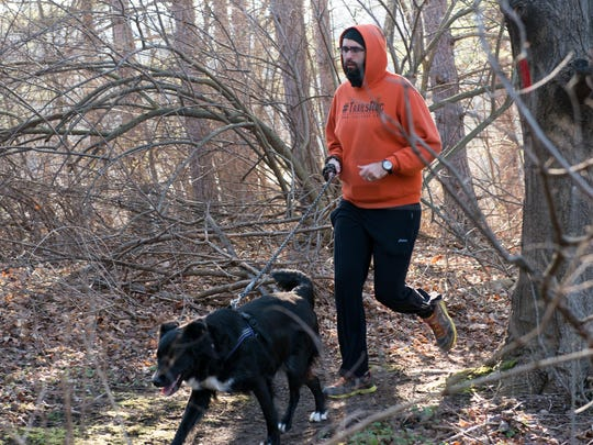 #TrailsROC group run leader Mike Valone of Greece runs