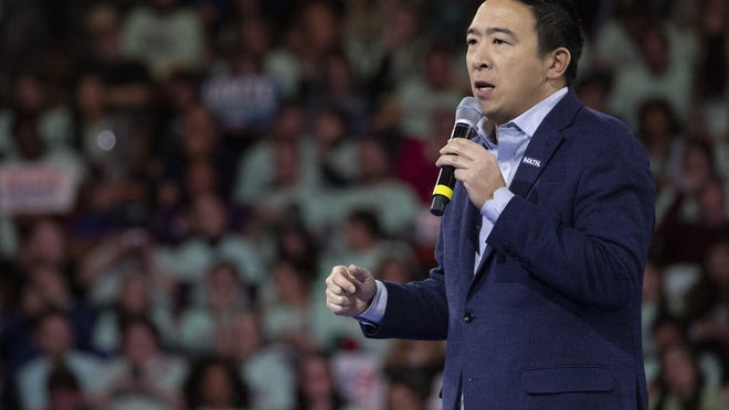 Democratic presidential candidate businessman Andrew Yang speaks during the McIntyre-Shaheen 100 Club Dinner, Saturday, Feb. 8, 2020, in Manchester, N.H.