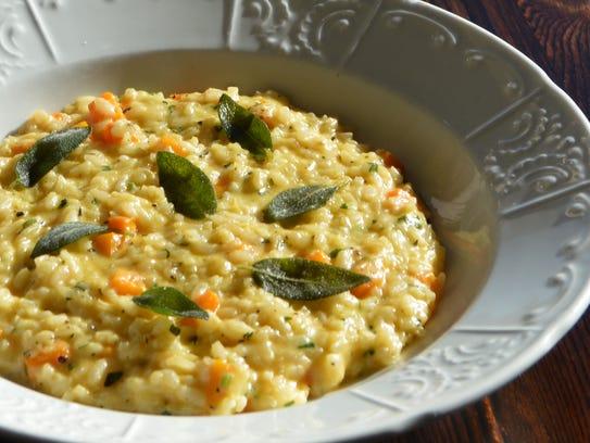 Homemade seasonal risotto prepared with Parmesan reggiano
