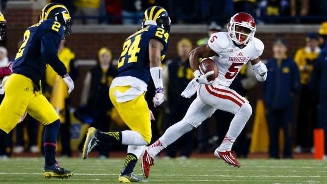 FILE – Hoosiers wide receiver J-Shun Harris II (5) will miss another season after another knee injury.