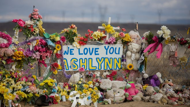 A memorial for Ashlynne Mike is pictured on Tuesday near her home in Lower Fruitland.