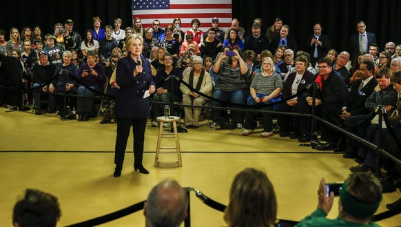 Hillary Clinton speaks to a gathering of potential