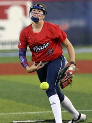 Kelsey Nunley of the USSSA Pride pitches during Friday's