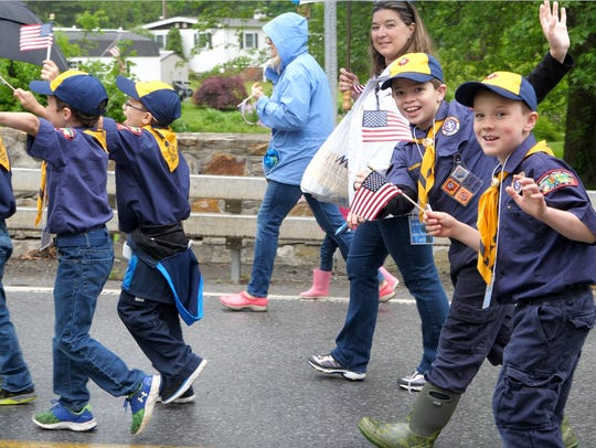 Scouts march in The Town of Beekman's Memorial Day