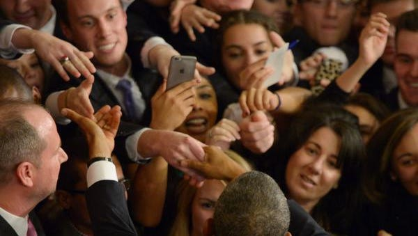 Jan 12, 2016; Washington, DC, USA; President Barack Obama greets attendees after delivering the State of the Union address from the House chamber of the United States Capitol in Washington. Mandatory Credit: Andrew P. Scott-USA TODAY Network
