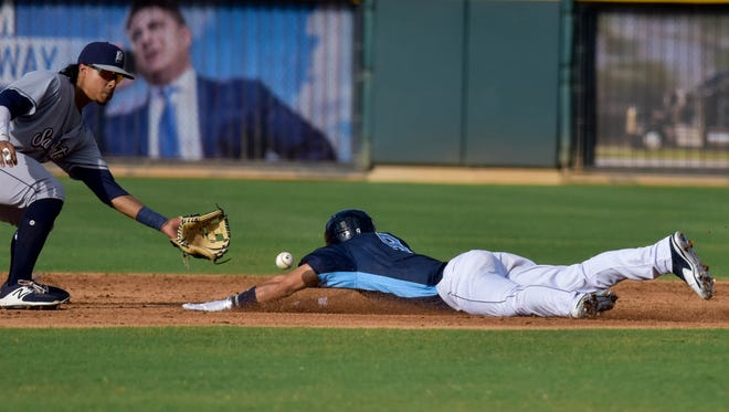 Hooks outfielder Ramon Laureano slides into second base against the San Antonio Missions on Sunday, June 18 at Whataburger Field.